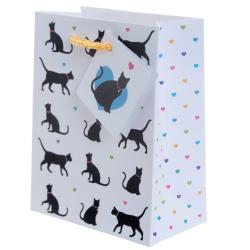Presentpåse med kort - I love my cat 14 x 11 x 6 cm vit