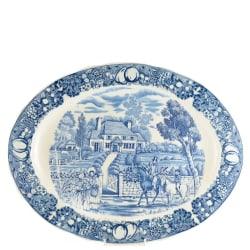Ovalt Fat 45 x 35cm dekor 18203-B Sekisui Japan Blå / Vit