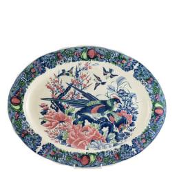 Ovalt Fat 45 x 35cm dekor 1899 Sekisui Japan Blått, Rött och Grönt