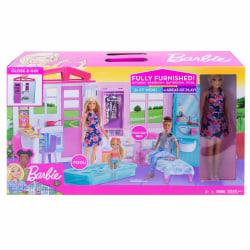 Barbie Dockhus med möbler och docka FXG55