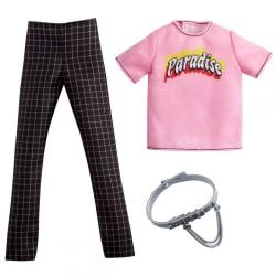 Barbie Fashion Ken Kläder Rosa t-shirt och rutiga byxor GRC74