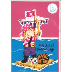 Grattiskort Rosa Pirat