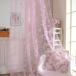 1*2M Purple Butterfly Burnout Tulle Voile Room Curtains pink