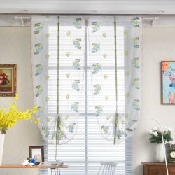 1 PCS Pastoral Tulle Window Roman Curtain Embroidered Sheer blue 80x100