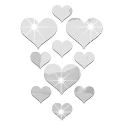 10pcs Heart-Shaped Mirror Wall Stickers 3D Acrylic Removable silver