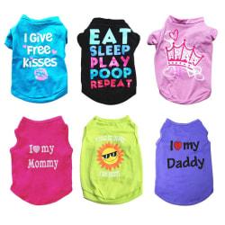 6st / set Pet Kortärmad T-shirt Hundkläder Casual Puppy Vest