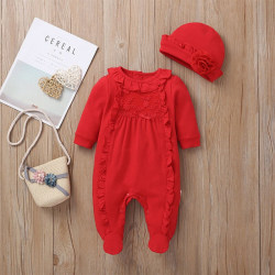 Autumn Baby Clothes Ruffle Design Long Sleeve Jumpsuit With Hat Red 59