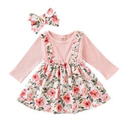 Autumn Cute Baby Girls  Long Sleeve Strap Flower Print Dress pink M