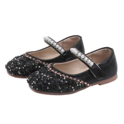 Autumn Kid Girl Soft Pu Leather Sole Shoes Anti-slip Sandals Black 24