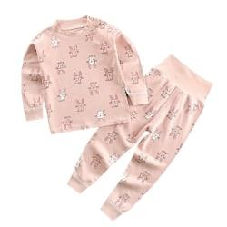 Autumn Kids Cute Cartoon Print Long Sleeve Tops+Pants Pajamas Pink 80