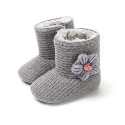 Baby Boot Plus Velvet Knitted Wool Soft Bottom Toddler Warm Boot gray m