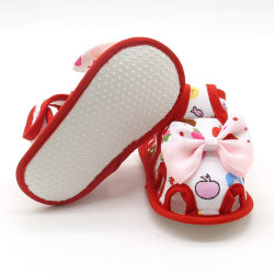 Baby Girl Cute Bow-knot Printed Princess Style Breathable Shoes red l