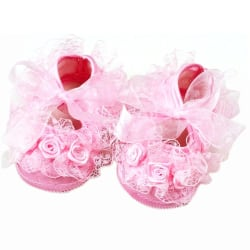 Baby Girls First Walkers Shoes Pink Flowers Lace Toddler Shoes Pink 11