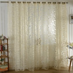 Best Price For Sweet Room Door Floral Tulle Windows Curtain punching beige yello