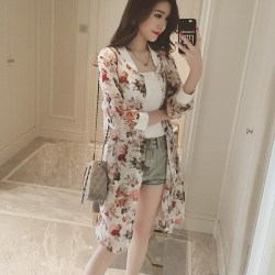Boho Beach Shirts Women Thin Summer Kimono Long Print Shirt rose one size