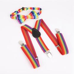 Brittisk stil barn elastiskt band och Rainbow Striped fluga kit