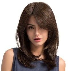 Brown Womens Wig Shoulder Medium Long Holiday Hair Natural Curly chocolate 18 Inch