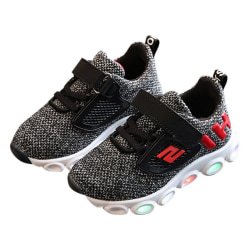Children Breathable Shoes LED Luminous Running Sports Shoes black 24