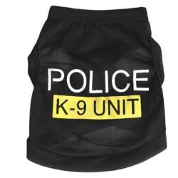 Söt husdjur valp kläder polis tryckt väst kostymer