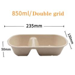Disposable Lunch Box Degradable Pulp Takeaway Box Salad Box double lattice 850ml +paper cover