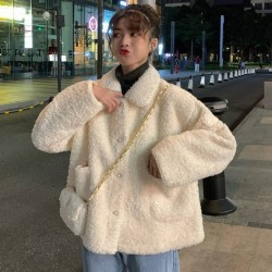 Elegant Faux Fur Coat Women Soft Button Fur Pocket Jacket white M