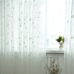 Elegant Solid White Embroidery Floral Tulle Sheer Curtains red