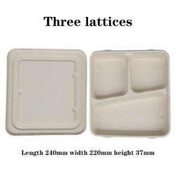 Environmental Paper Pulp Disposable Lunch Box Divided Sugar Cane three grid 1300ml +paper cover