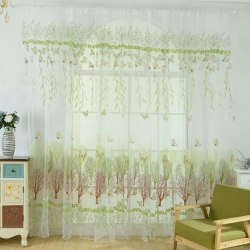 Fashion Flower Print Tulle Sunflower Pattern Window Curtain green 1*2.7