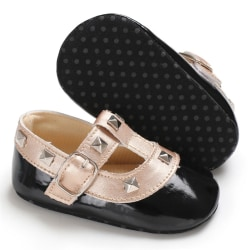 Fashion Stitching Rivet Princess shoes Cute Baby Girl Soft Soled black 3