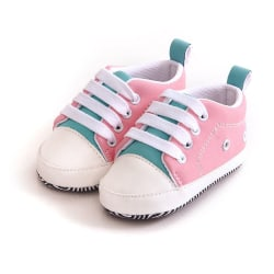 First Walkers Baby Sneakers Crib Shoes Girls Toddler Laces Soft pink 13-18 months