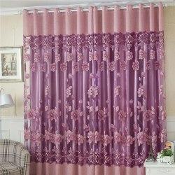 FlowerTulle Door Window Curtain Drape Panel Sheer Scarf Valances light purple