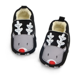 Girl Boy Home Shoes Soft Sole Indoor Slippers Infant Crib Shoes black 7-12 months