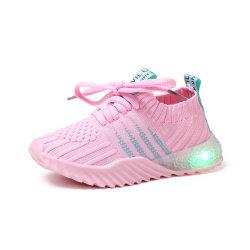 Girls Boys Led Light Casual Shoes Glowing Bottom Fush Lighing pink 30