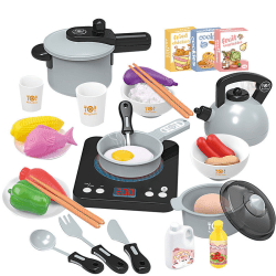 Girls Toy Kitchen Set 36pcs Toy Accessories For Children To Play blue 1 set