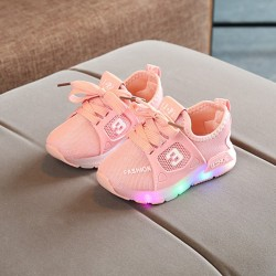 Glow Baby Shoes Fashion LED Baby Girl Shoes Sports pink 25