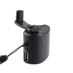 Hand Cranked Power Dynamo Generator Emergency USB Charger Black