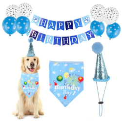 Handmade Adjustable Pet Birthday Decor Cat Dog Scarf Hat Cat Dog blue
