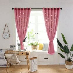 High Shading Double Layers Hollowing Decorative Curtains light red