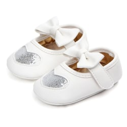 Kids Baby Soft Anti-slip Bow Shoes Girls Fist Walkers Shoes silver 11