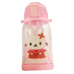 Kids Cartoon Animal Pattern Bottle Cup Straw Sippy Cup 600ml rabbit