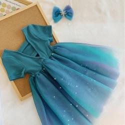Kids Dresses for Girls Birthday Party Dress Vestido blue L(3-4Y)