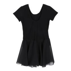 kids Girls Short Sleeve Cotton Dance Clothes Siamese Gymnastic black xxl