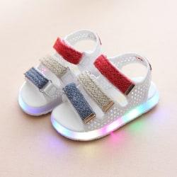 Barnsandaler Skor Pojkar Flickor Baby Led-lysande sandaler White 22