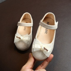 Kids Shoes Single Shoes Bow-knot PrincessChildren Flat Shoes gold 26