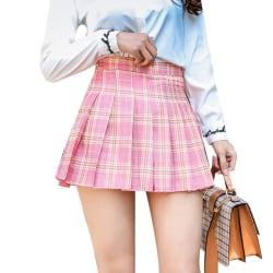 Korean High Waist Plaid Skirt Zipper Pleated A Line Skirt pink S