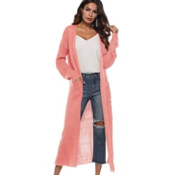 Long Sweaters Knitting Long Sleeves Pockets Cardigan Sweater Pink L