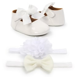 Lovely Sweet Baby Girl Anti-Slip Casual Walking Shoes Bow Soft white m
