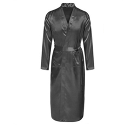 Men Silk Satin Bathrobe Robe Long Solid Silk Pajamas Sleepwear gray xxl