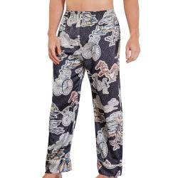 Men Sleep Bottoms Satin Sleepwear Soft Nightgown Pants navy L