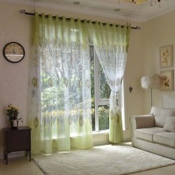 modern tulle green leaves fabric blinds drape 100x250cm as the picture show Pull Pleated Tape